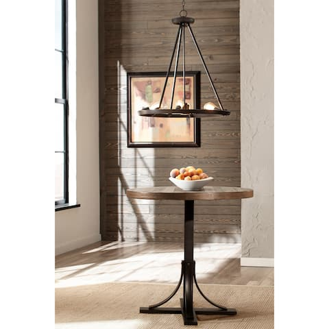 Jennings Round Counter Height Dining Table with Metal Base - Brown/Walnut