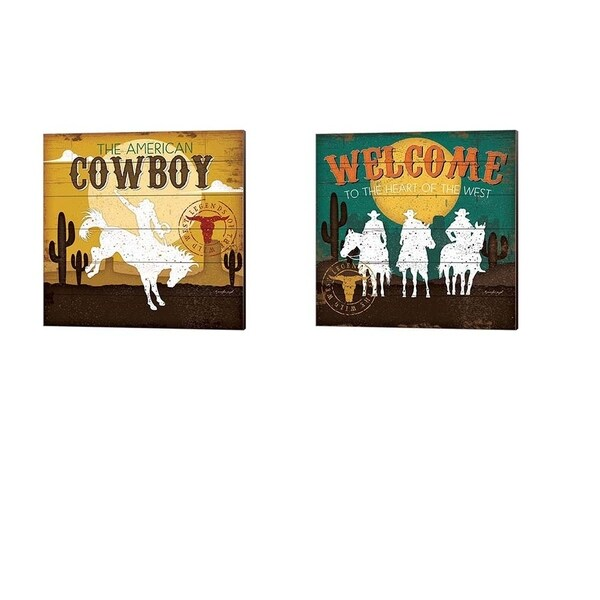 Jennifer Pugh 'The American Cowboy & Welcome to the Heart of the West' Canvas Art (Set of 2)