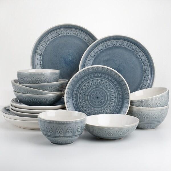 Euro Ceramica Fez 16 Piece Crackle-Glaze Double Bowl Dinnerware Set