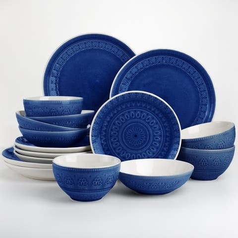 Euro Ceramica Fez 16 Piece Crackle-Glaze Double Bowl Dinnerware Set