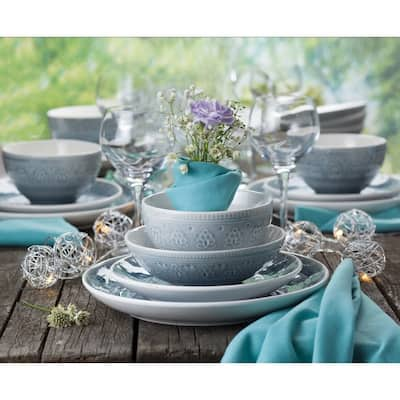 Euro Ceramica Fez 16-pc. Crackle Glaze Dinnerware Set