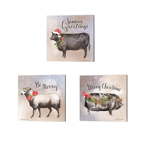 Bluebird Barn 'Vintage Christmas Be Merry Sheep, Pig & Cow' Canvas Art (Set of 3)