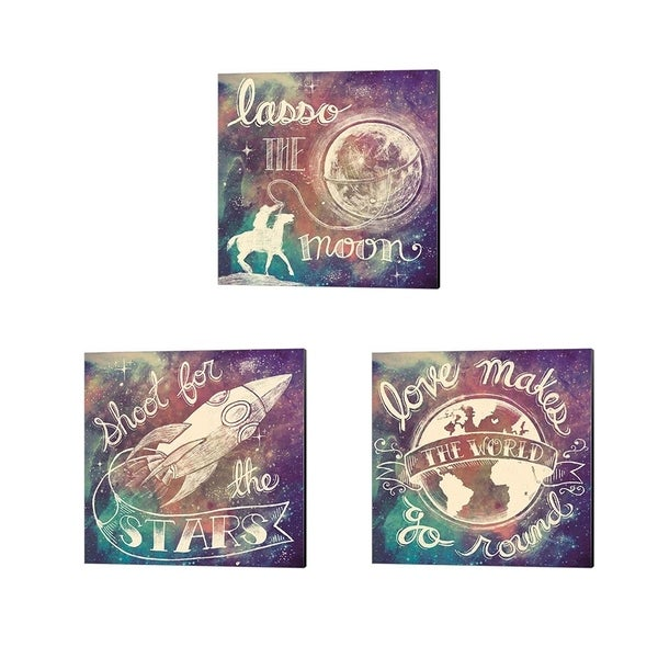 Mary Urban 'Universe Galaxy Shoot For the Stars, Lasso the Moon & Love Makes' Canvas Art (Set of 3)