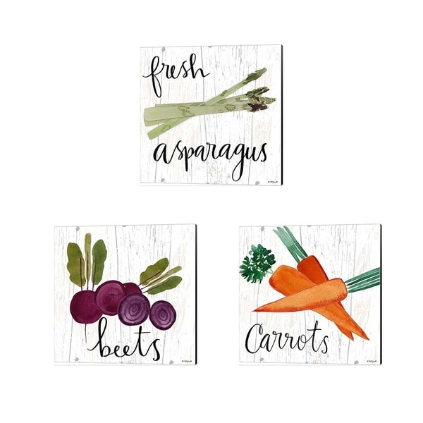 Katie Doucette 'Beets, Carrots & Fresh Asparagus' Canvas Art (Set of 3)