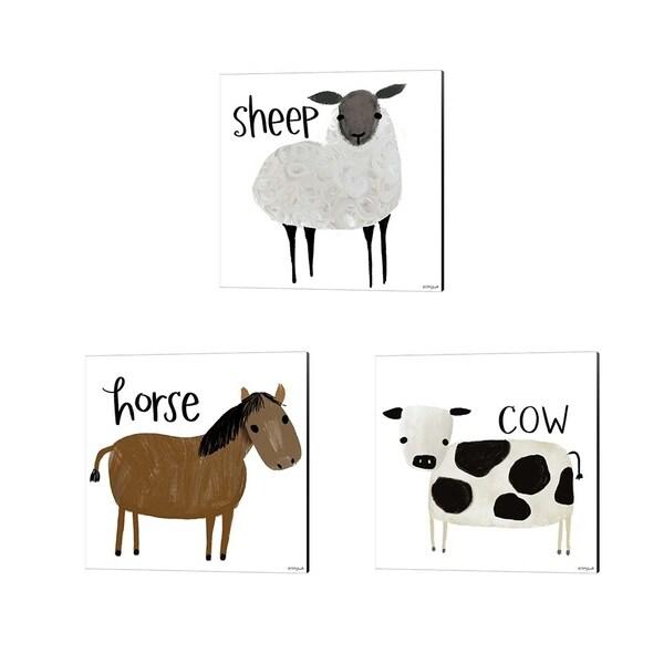 Katie Doucette 'Sheep, Cow & Horse' Canvas Art (Set of 3)