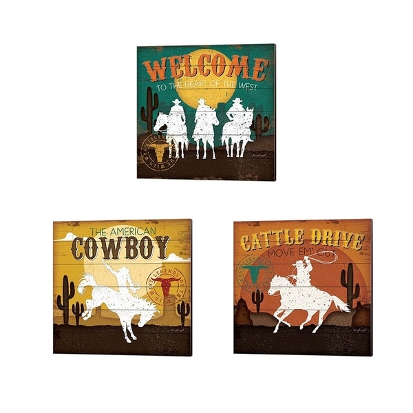 Jennifer Pugh 'Cattle Drive, The American Cowboy & Welcome to the Heart of the West' Canvas Art (Set of 3)