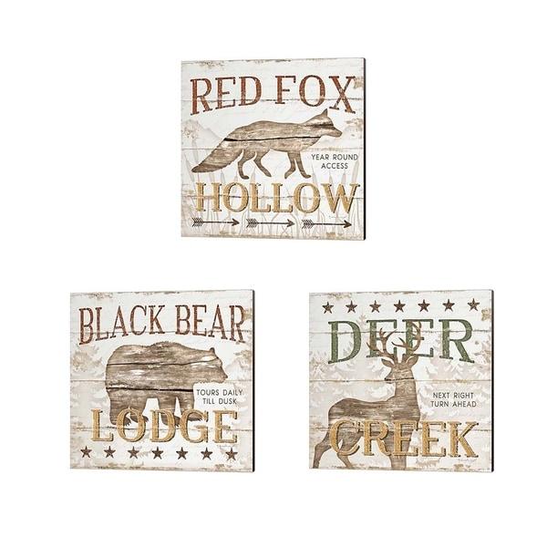 Jennifer Pugh 'Deer Creek, Black Bear Lodge & Red Fox Hoolow' Canvas Art (Set of 3)