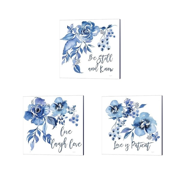 Kristy Rice 'Delft Delight Live' Canvas Art (Set of 3)