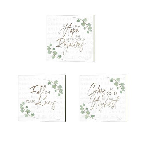 Jennifer Pugh 'Fall on Your Knees, A Thrill of Hope & Glory to God' Canvas Art (Set of 3)