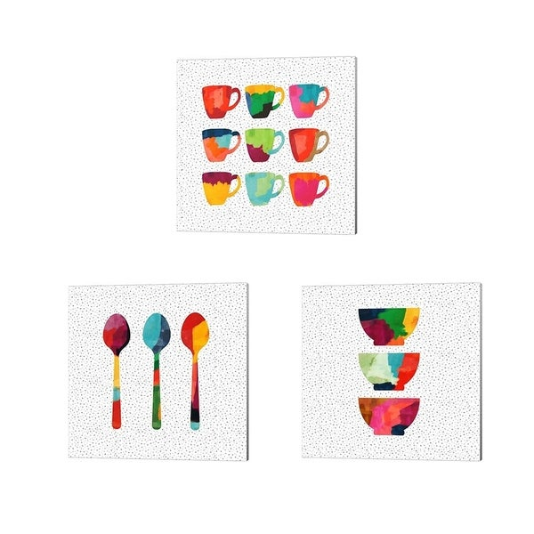 Linda Woods 'Wild Bowls, Mugs & Spoons' Canvas Art (Set of 3)