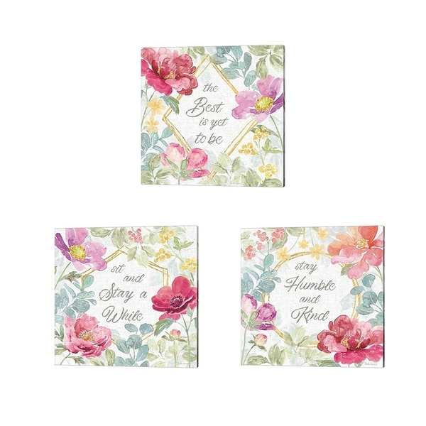 Beth Grove 'Springtime Bloom' Canvas Art (Set of 3)