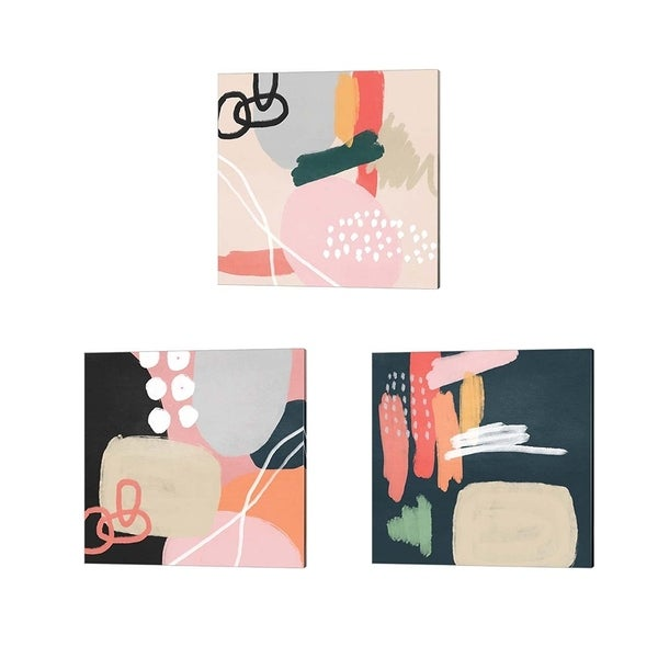 Linda Woods 'Abstract Shapes' Canvas Art (Set of 3)