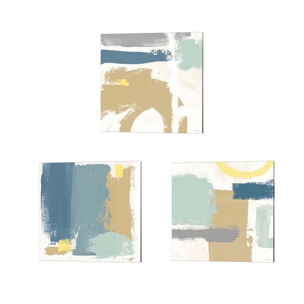 Linda Woods 'Tranquil' Canvas Art (Set of 3)