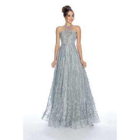 Stella Couture Halter Neck Prom Maxi Dress