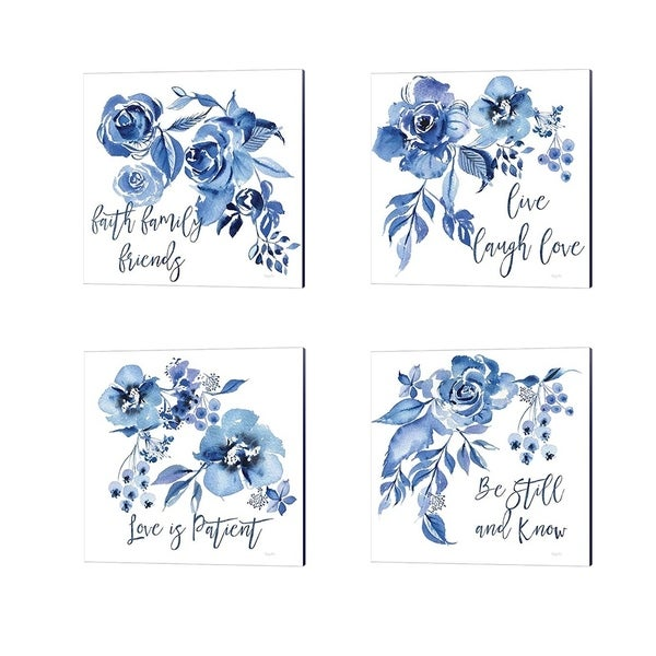 Kristy Rice 'Delft Delight Faith' Canvas Art (Set of 4)