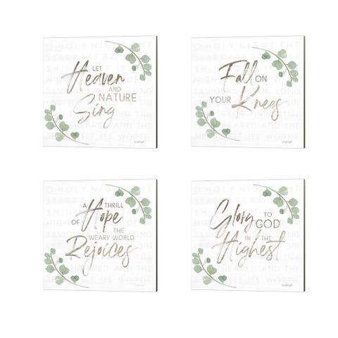 Jennifer Pugh 'Let Heaven and Nature Sing, Fall on Your Knees, A Thrill of Hope & Glory to God' Canvas Art (Set of 4)