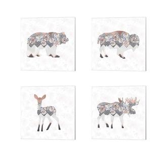 Tara Moss 'Square Bear, Buffalo, Deer & Moose' Canvas Art (Set of 4)
