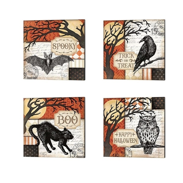 Jennifer Pugh 'Spooky, Trick or Treat, Boo & Happy Halloween' Canvas Art (Set of 4)