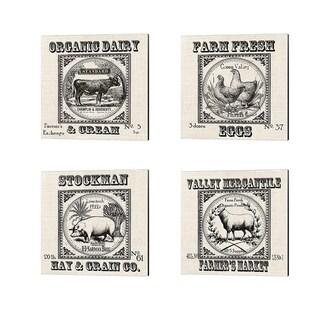 Tre Sorelle Studios 'Farmhouse Grain Sack Label Cow, Pig, Sheep & Chickens' Canvas Art (Set of 4)
