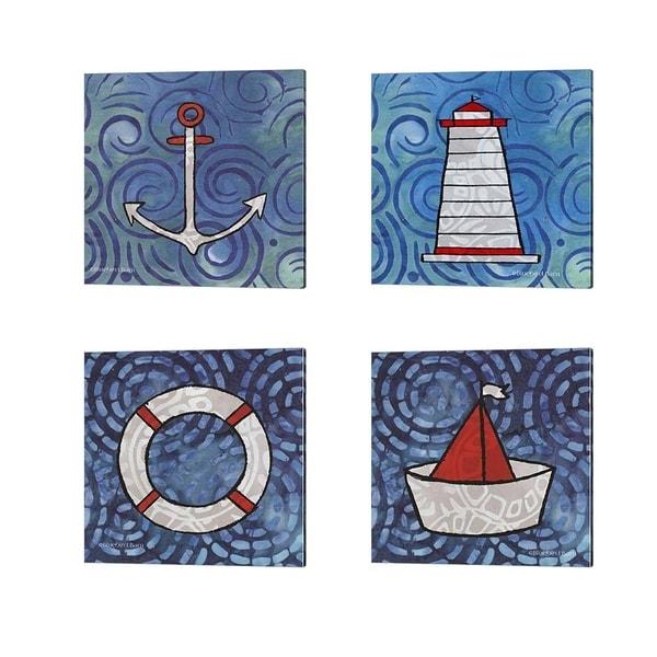 Bluebird Barn 'Whimsy Coastal Anchor, Conch Lighthouse, Ring Buoy & Sailboat' Canvas Art (Set of 4)