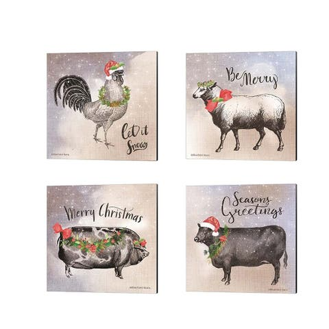 Bluebird Barn 'Vintage Christmas Be Merry Rooster, Sheep, Pig & Cow' Canvas Art (Set of 4)