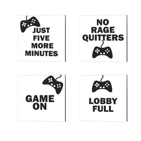 Linda Woods 'Five More, Game On, No Rage Quitters & Lobby Full (BW)' Canvas Art (Set of 4)