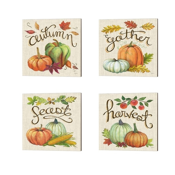 Mary Urban 'Autumn Harvest Linen' Canvas Art (Set of 4)
