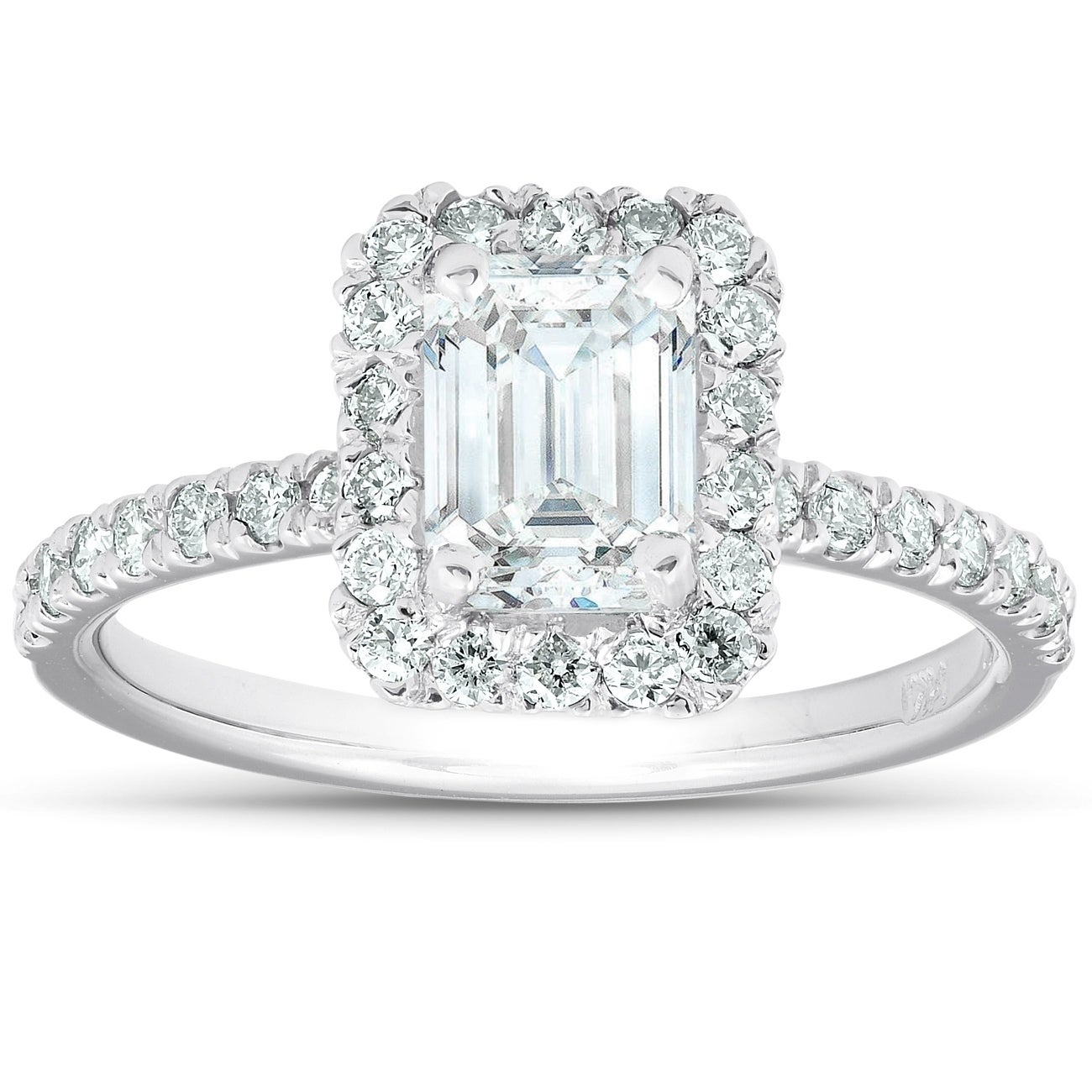 Shop 1 1 2 Ct Emerald Cut Diamond Halo Engagement Ring 14k White Gold Overstock 28713430