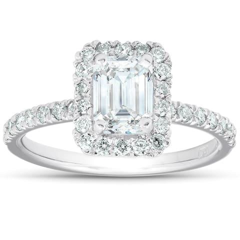 1 1/2 Ct Emerald Cut Diamond Halo Engagement Ring 14k White Gold