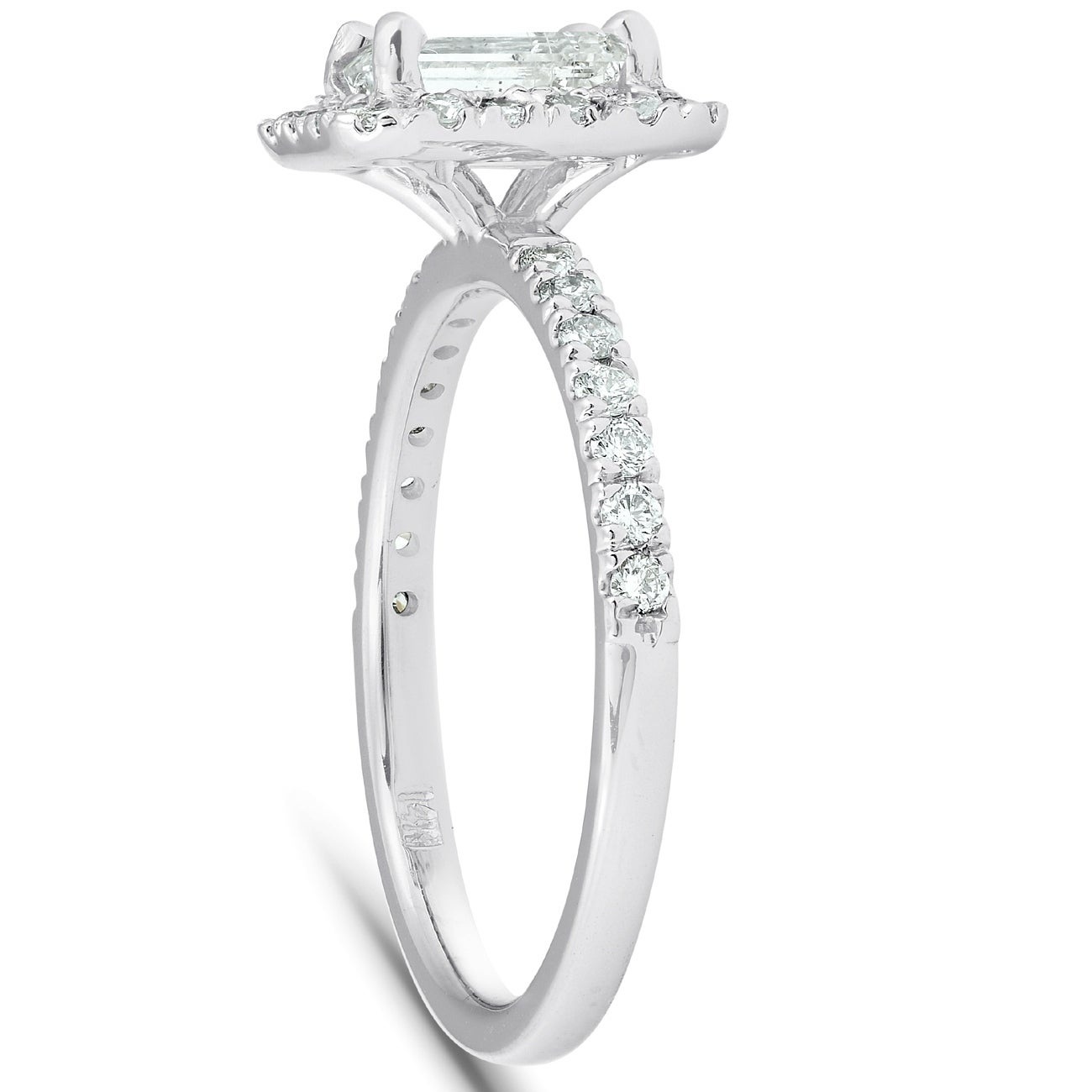 Details about  /2.18 Emerald Cut Halo Wedding Bridal Engagement Anniversary Ring 14k White Gold