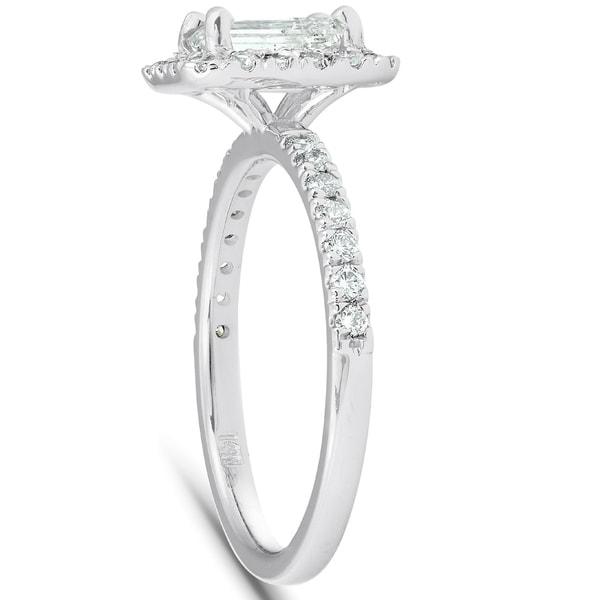 3 Stone Diamond Engagement Wedding Ring 2 CT Emerald 14k Solid White Gold