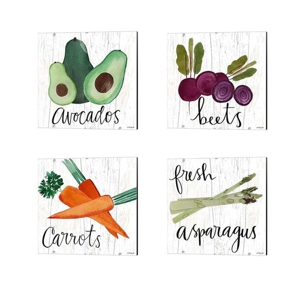 Katie Doucette 'Avocados, Beets, Carrots & Fresh Asparagus' Canvas Art (Set of 4)
