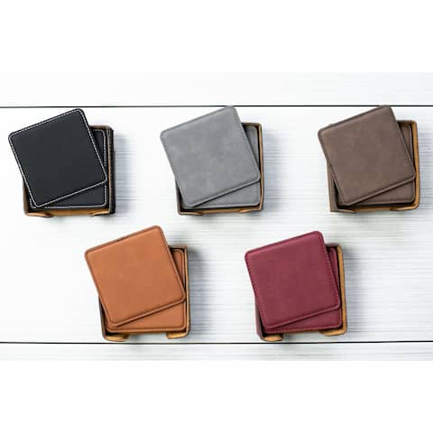 Caddy Bay Collection Square Vegan Leather Coaster - 5 Colors
