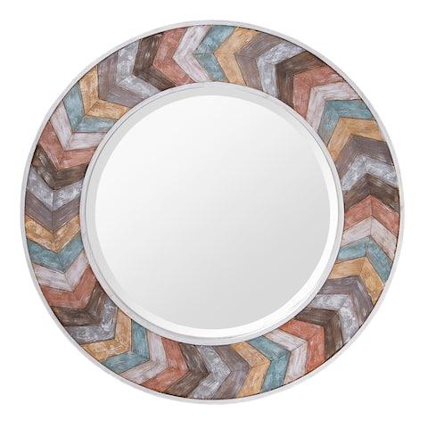 Varaluz Jemma Waxed Pastel Colorful Chevron Wood Round Mirror