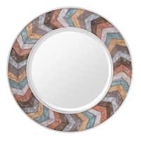 Jemma Waxed Colorful Chevron Wood Round Mirror