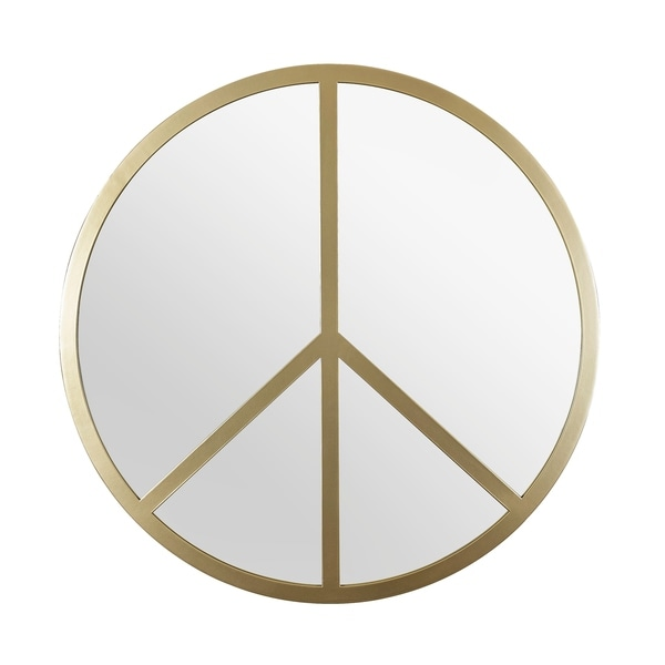 Paz 30-inch Round Peace Sign Accent Mirror in Gold