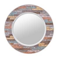 Colorful Waxed Plank Medium Circular Wood Mirror