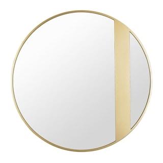 Cadet 30-inch Round Accent Mirror in Gold