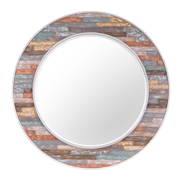 Colorful Waxed Plank Large Circular Wood Mirror