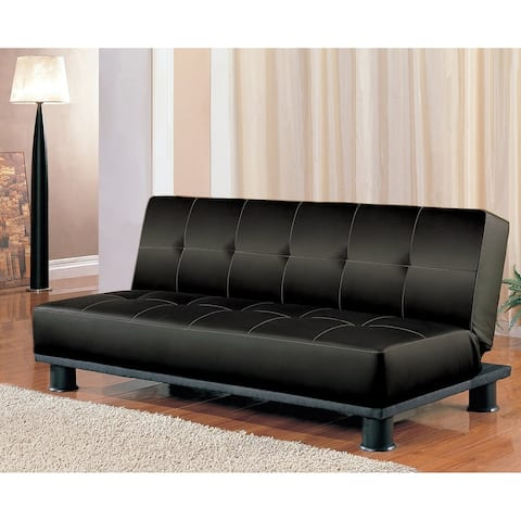 Antonio Black Leather Convertible Sofa Bed
