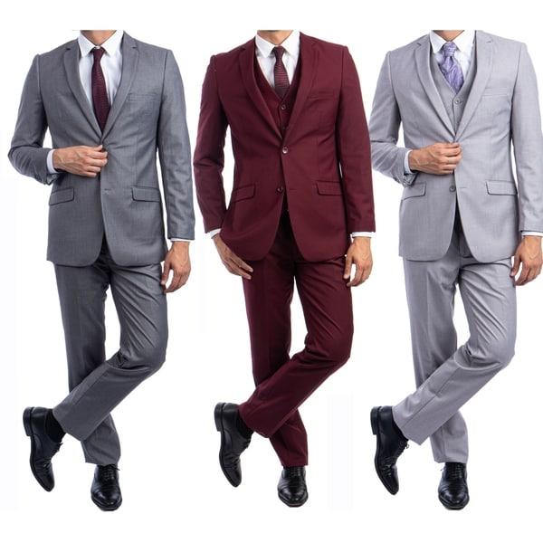 Slim Fit 3-Pc Suit Solid Notch Lapel Suits for Men-All Occasion Suit