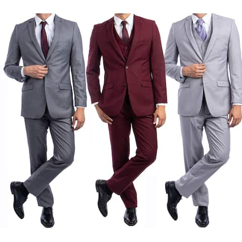 Slim Fit 3-Pc Suit Solid Notch Lapel Suits for Men-All Occasion Suit