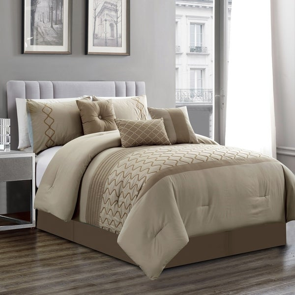 Elight Home Polyester Microfiber 7pc Comforter Set - Taupe. Opens flyout.