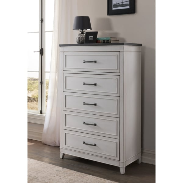 Martin Svensson Home Del Mar 5 Drawer Chest, White with Grey Top