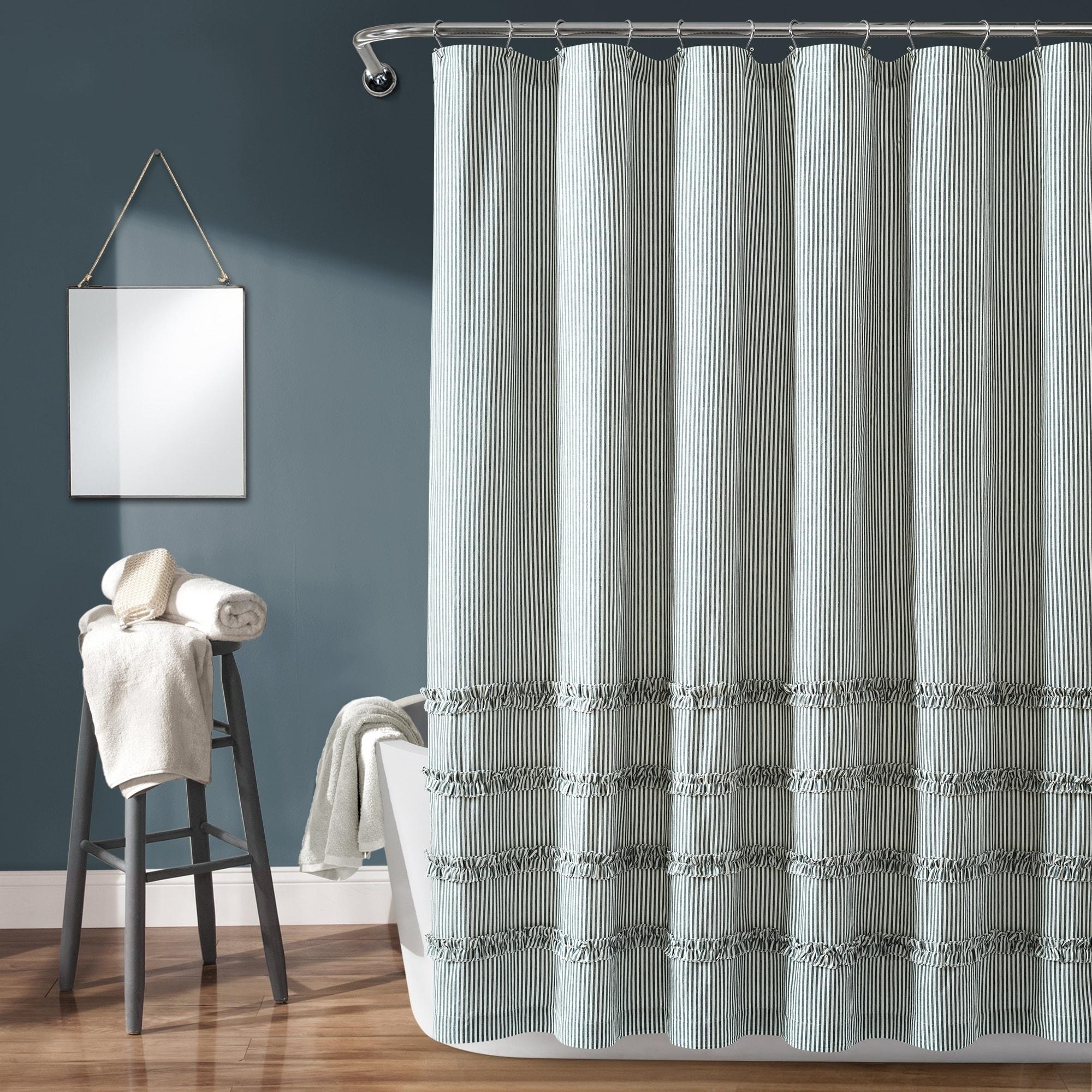 The Gray Barn Done Roamin Stripe Yarn Dyed Cotton Shower Curtain