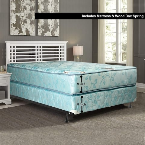 9-Inch Medium Firm Tighttop Innerspring Assembled DoubleSided Mattress and Box Spring Set