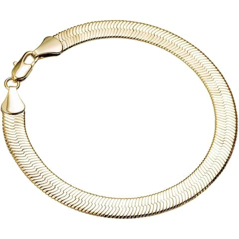 4mm 7.5-inch Herringbone Gold/Silver Overlay Bracelet by Simon Frank Designs