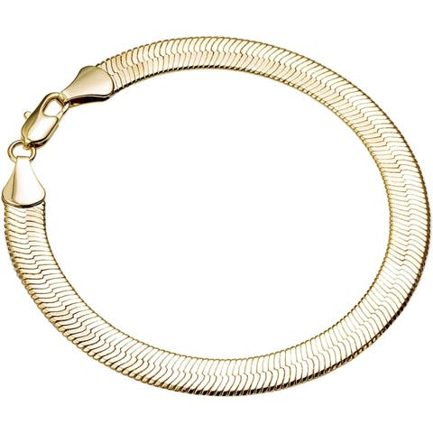 4mm 7.5-inch Herringbone Gold/Silver Overlay Bracelet by Simon Frank Designs