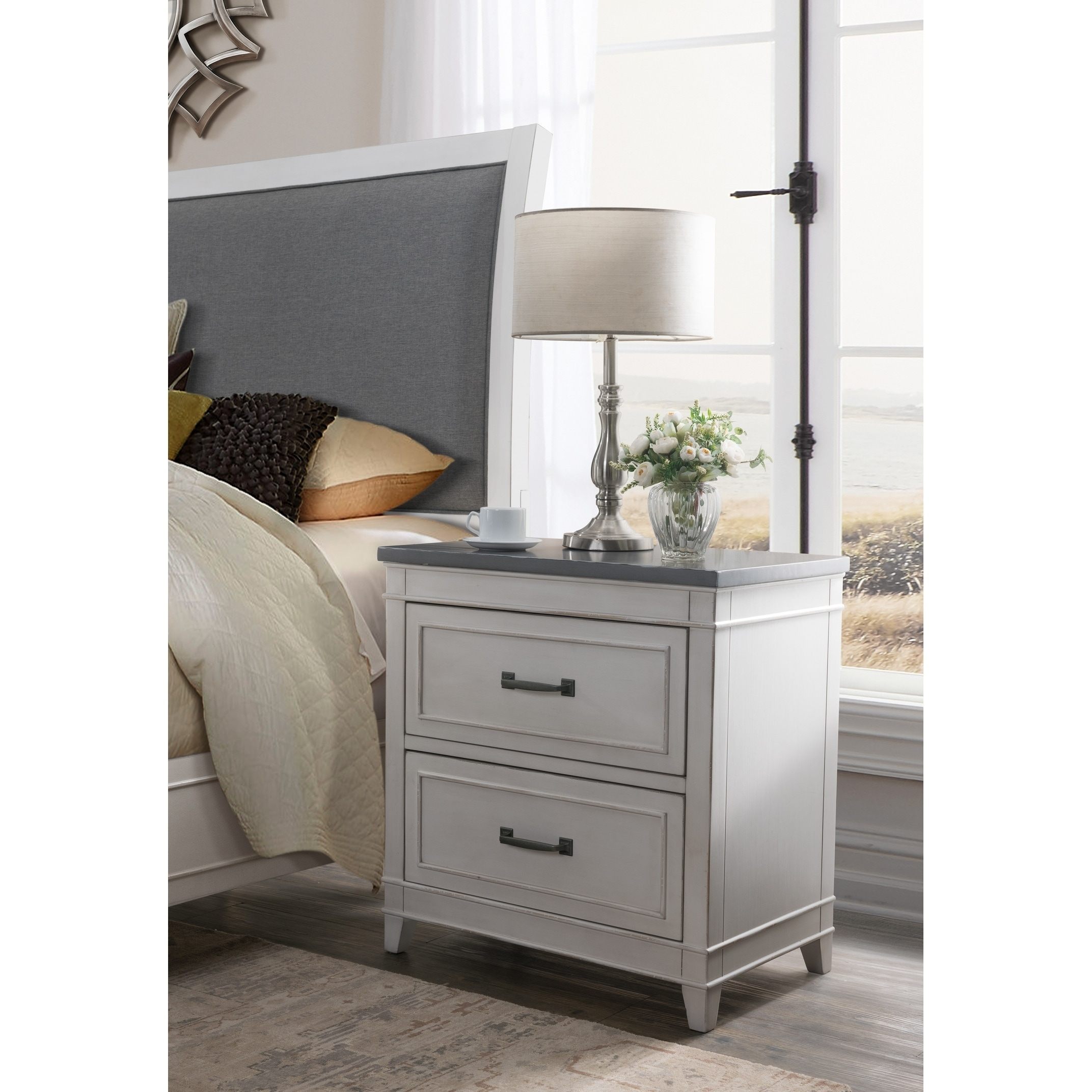 The Gray Barn Happy Horse White And Grey 2 Drawer Nightstand Overstock 28714791