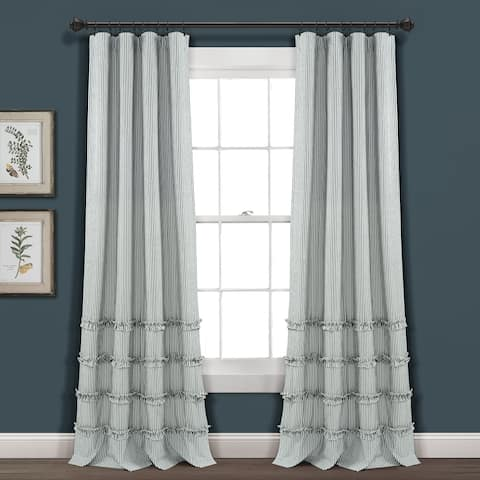Lush Decor Vintage Stripe Yarn Dyed Cotton Window Curtain Panel Pair